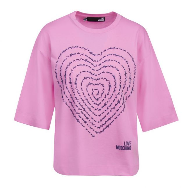 Womens Pink Rubber Heart S/s T Shirt