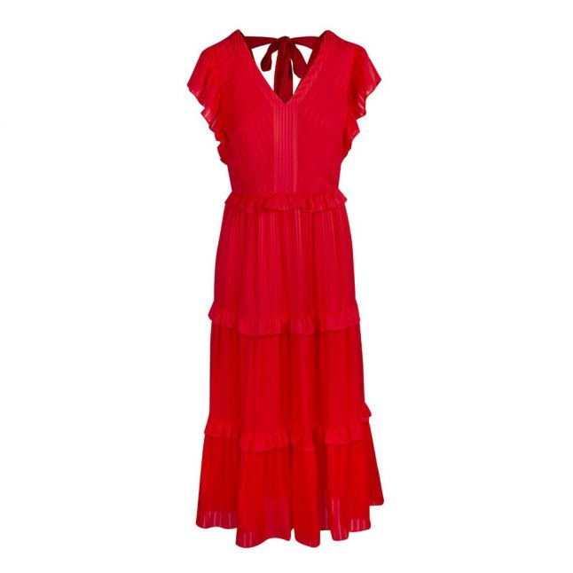 Womens Coral Tiliana Ruffle Tiered Maxi Dress