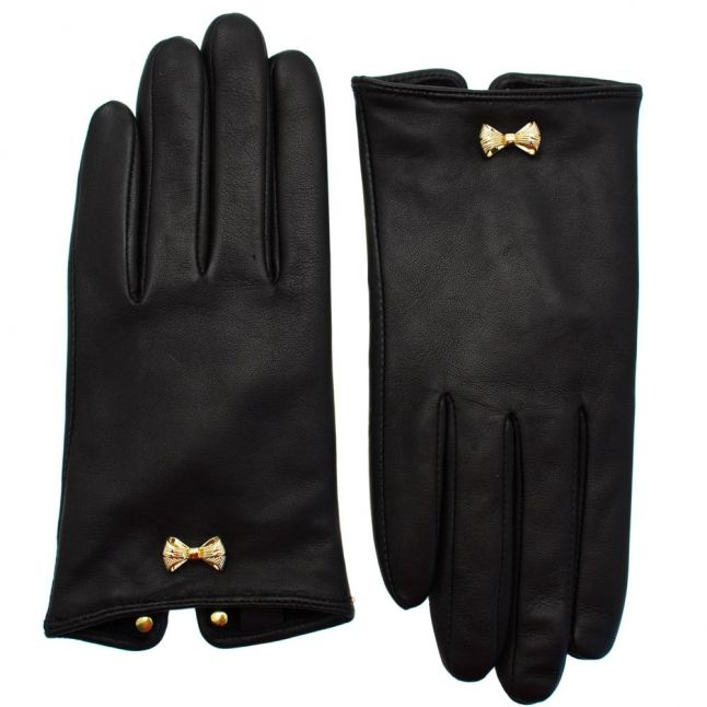 Womens Black Avia Bow Leather Gloves