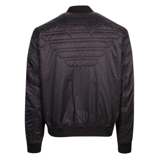 Mens Black Embroidered Eagle Padded Jacket