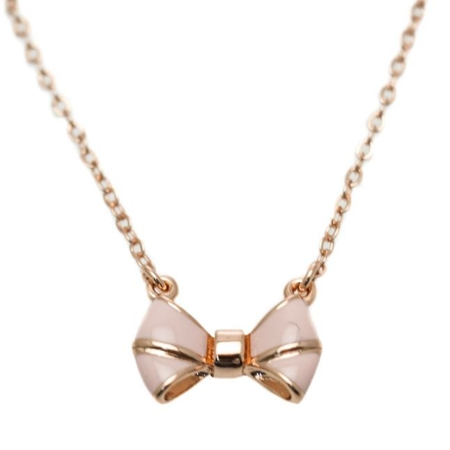 Womens Rose Gold & Baby Pink Edda Bow Pendant Necklace
