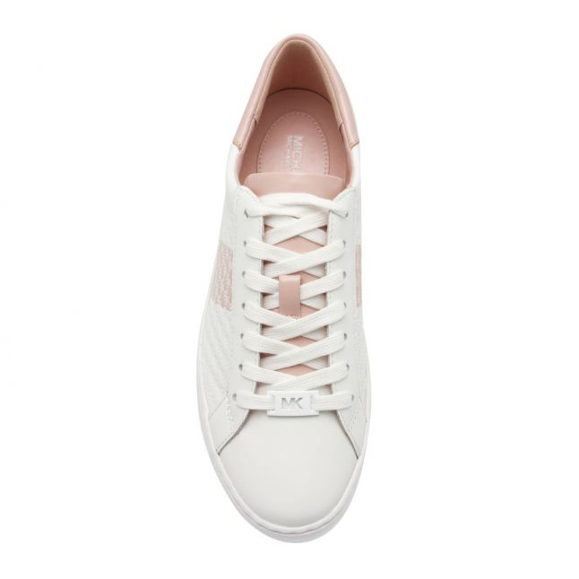 Womens White/Rose Colby Embossed Trainers
