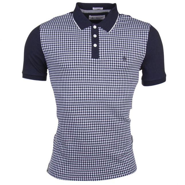 Mens Dark Sapphire Gingham Jacquard Polo Shirt
