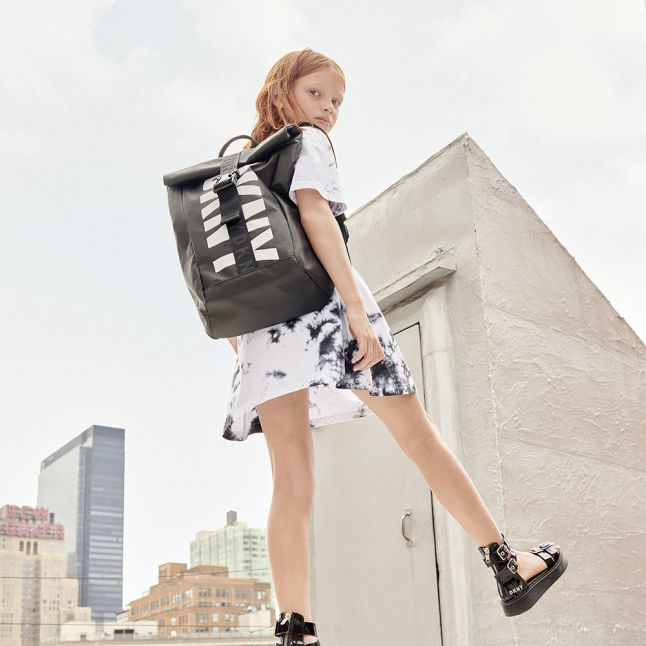 Girls Black Logo Flatform Sandals (30-37)