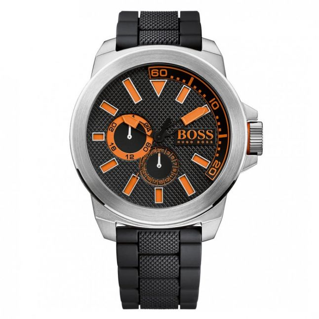 Watches Mens Black Dial New York Silicone Strap Watch