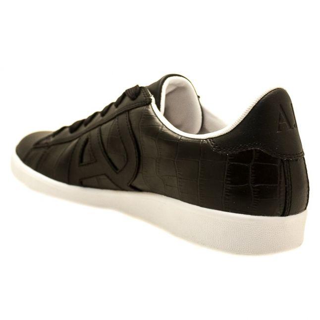 Mens Black Leather Croc Trainers