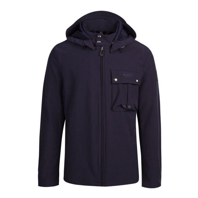 Mens Dark Navy Wing Shell Hooded Jacket