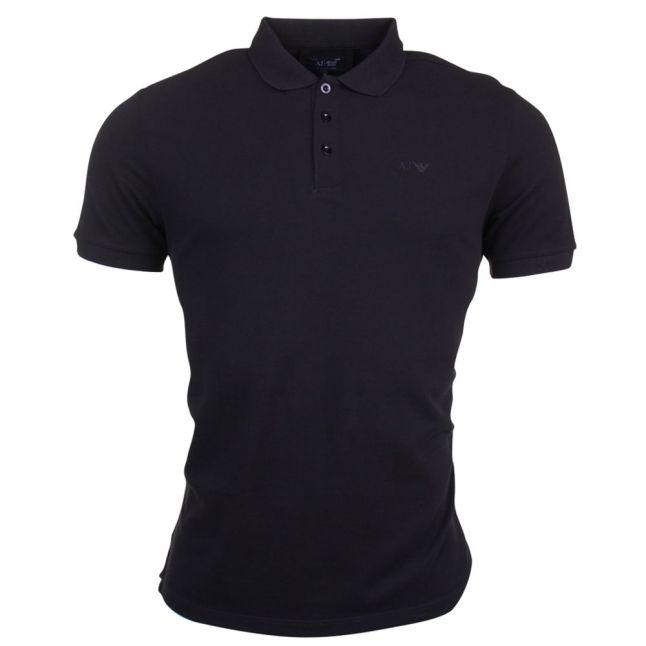 Mens Black Chest Logo Regular Fit S/s Polo Shirt