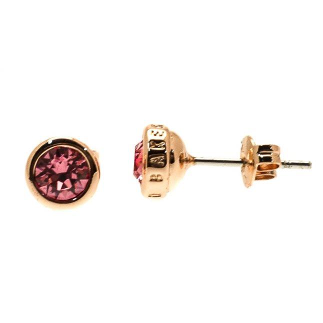 Womens Rose Gold & Pink Sinaa Crystal Stud Earrings