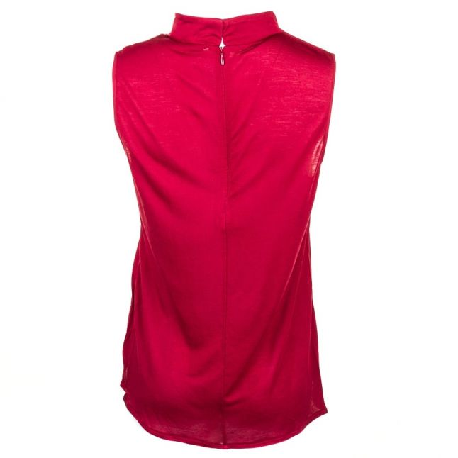 Womens Berry Red Polly Plains Mock Neck Top