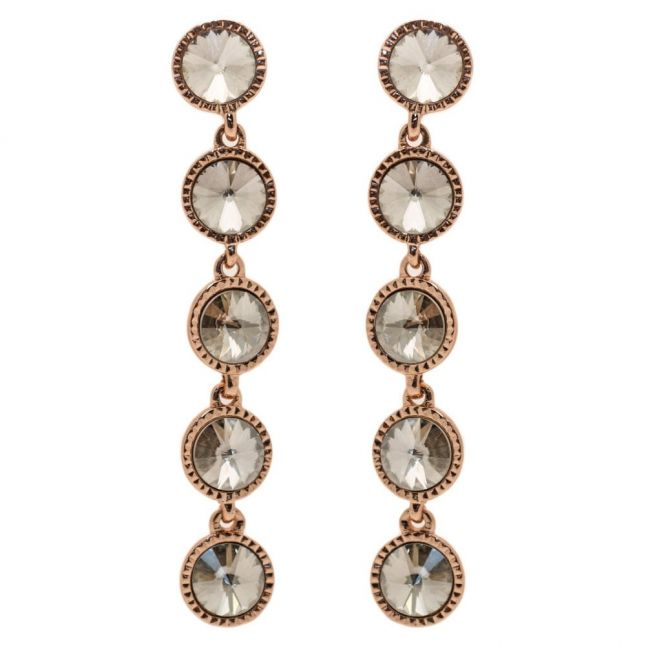 Womens Rose Gold & Crystal Rizza Drop Earrings