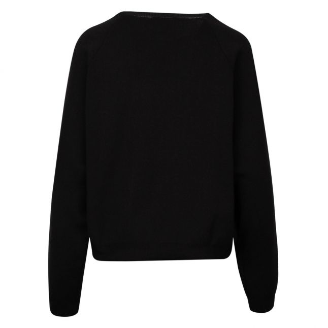Womens Black Embroidered Arm Sweat Top