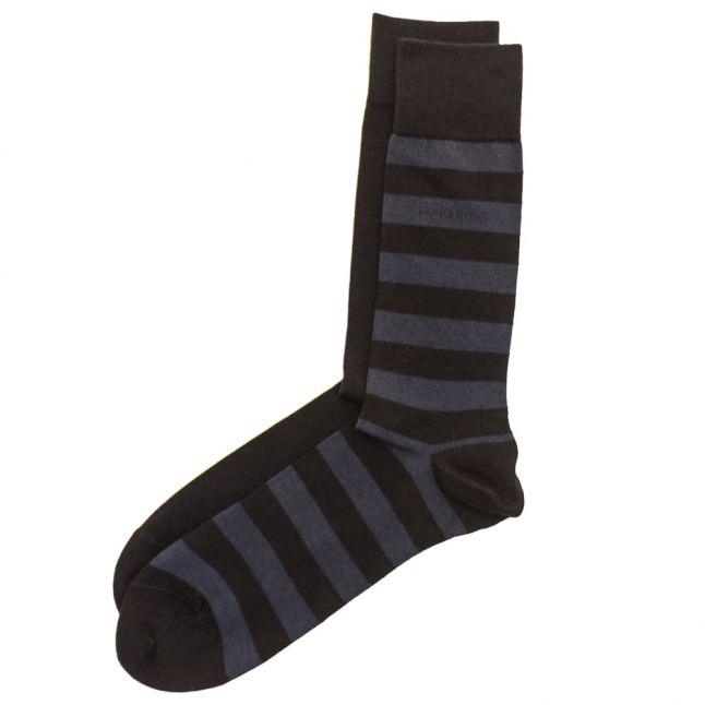 Mens Dark Blue Twopack Block Stripe Socks (5-11)