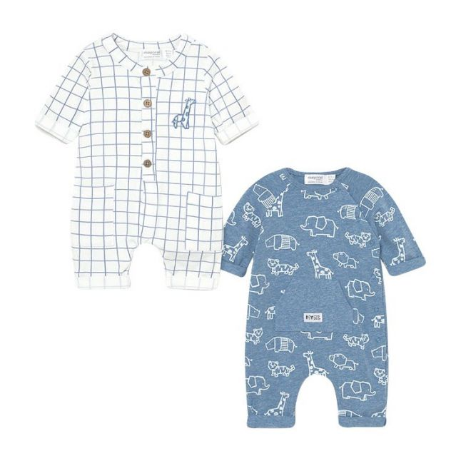 Baby Light Blue Animal 2 Pack Rompers
