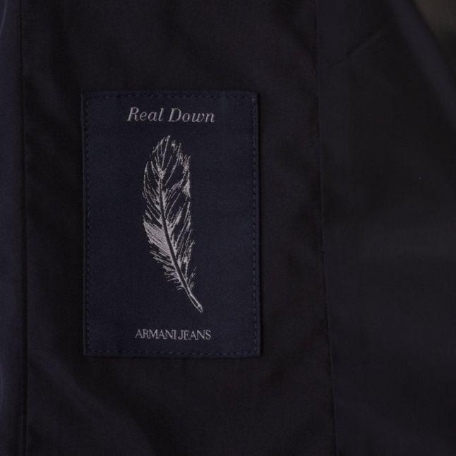 Womens Blue Fur Hooded Long Jacket