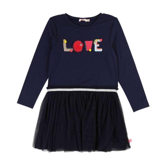 Girls Navy Love Net Skirt Dress