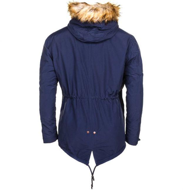 Mens Navy Fur Hooded Parka