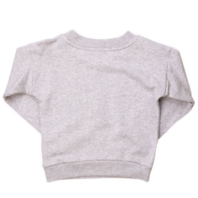 Girls New Grey Melange Printed Necklace Crew Sweat Top