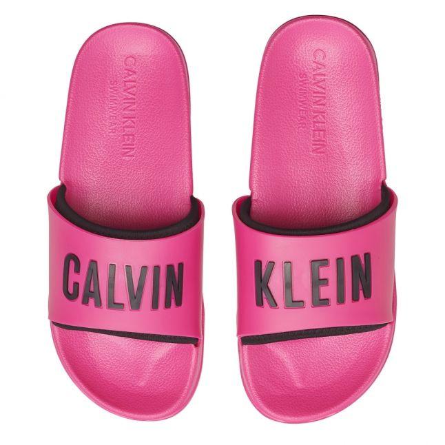 Womens Pink Glow Logo Slides