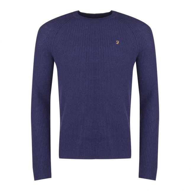 Mens True Navy Marl Garway Crew Knitted Jumper