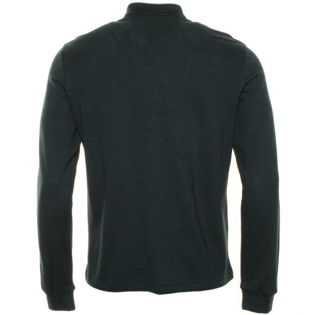 Mens Green Classic Marl Regular Fit L/s Polo Shirt
