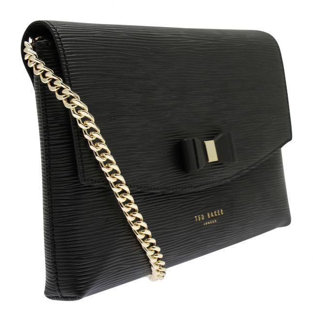 Womens Black Atenaa Bow Clutch Bag