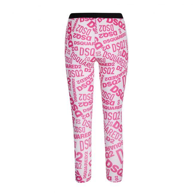 Womens Pink/White Printed Logo Leggings