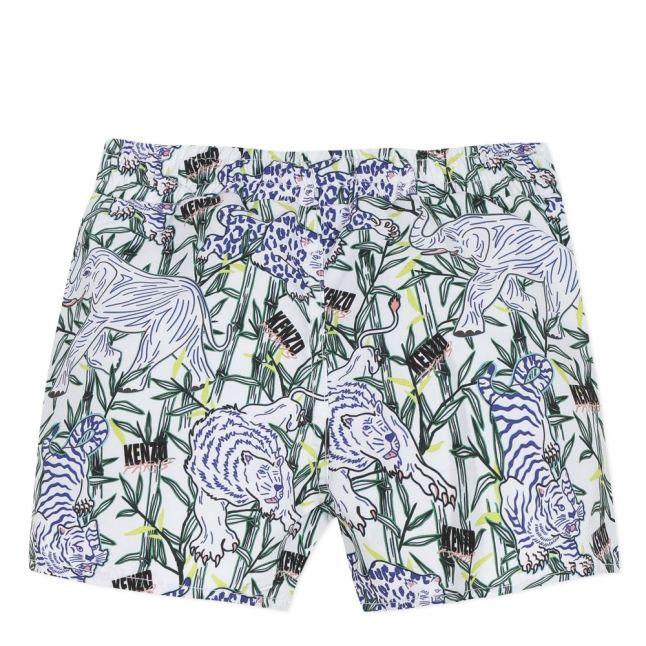 Boys White Multi Julien Animal Swim Shorts
