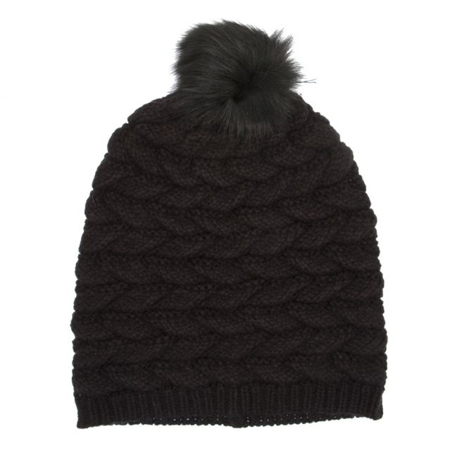 Womens Black Cable Hat with Pom