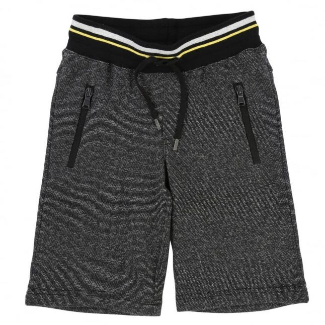 Boys Black Branded Marl Jog Shorts