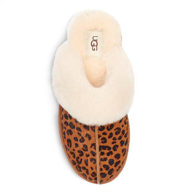 Womens Brown Scuffette II Leopard Slippers