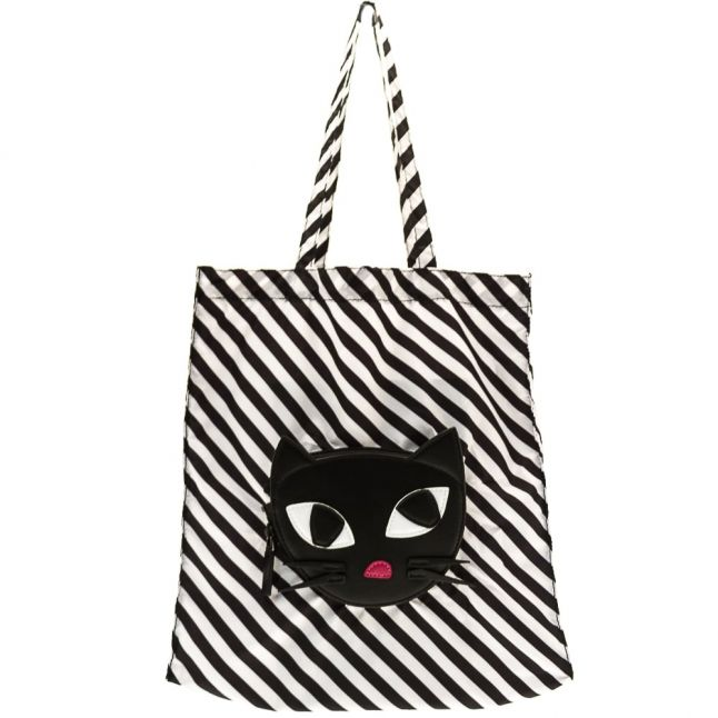 Womens Black & White Cat Foldaway Shopper Bag