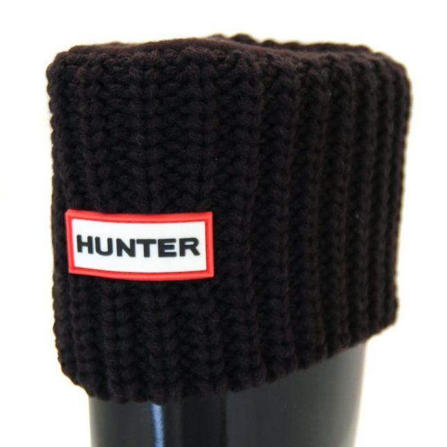 Womens Black Short Half Cardy Stitch Wellington Socks