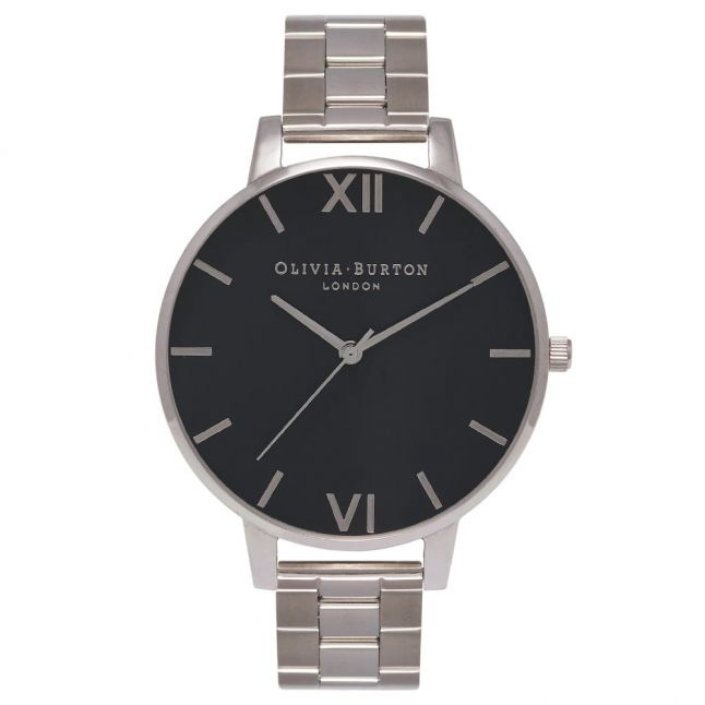 Womens Black Dial & Silver Big Dial Bracelet Watch