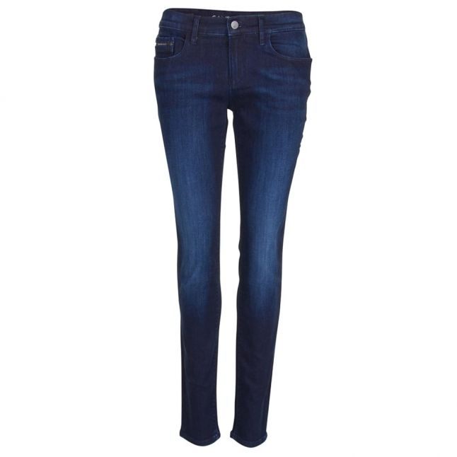 Womens Blue Mid Rise Skinny Jeans