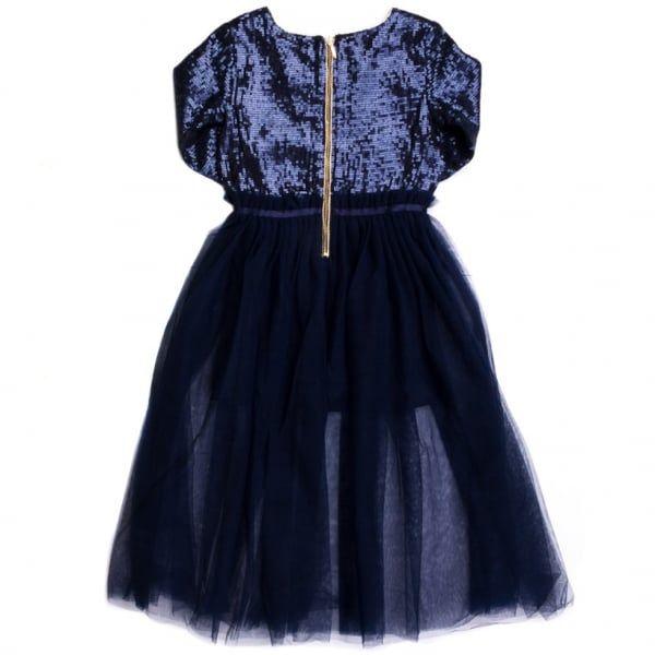 Girls Navy Long Sequin & Full Skirt Dress