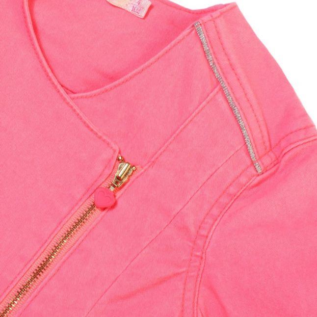 Girls Pink Zip Sweat Top