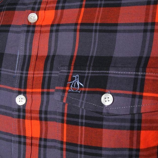 Mens Nightshadow Blue Aventura Check Slim Fit L/s Shirt