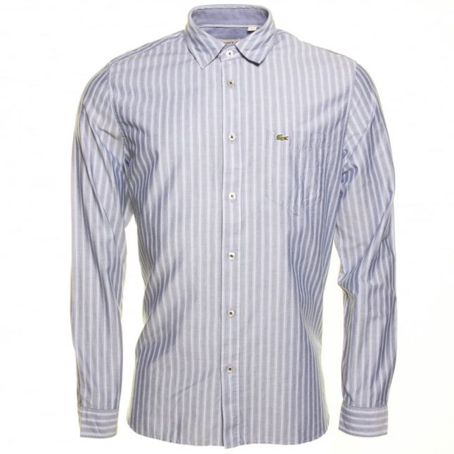 Mens Blue Stripe Regular Fit L/s Shirt