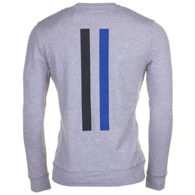 Mens Medium Grey Melange Silver Label Logo Crew Sweat Top