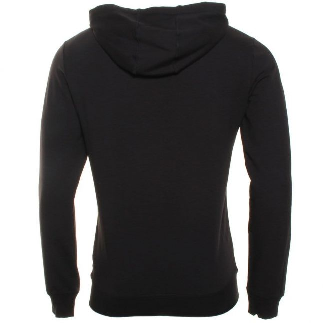 Mens Black Silver Label Hooded Sweat Top