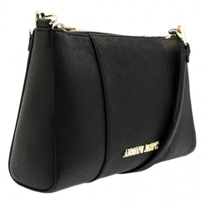 Womens Black Faux Saffiano Cross Body Bag