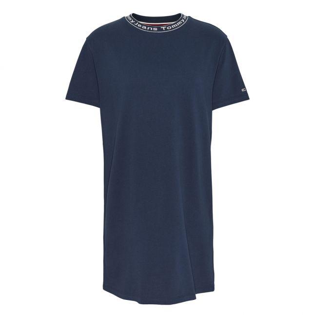 Womens Twilight Navy Branded Neck Tee Dress
