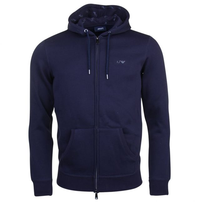 Mens Navy Small Logo Zip Hooded Sweat Top
