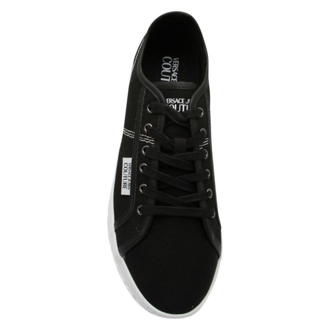 Mens Black Branded Canvas Trainers