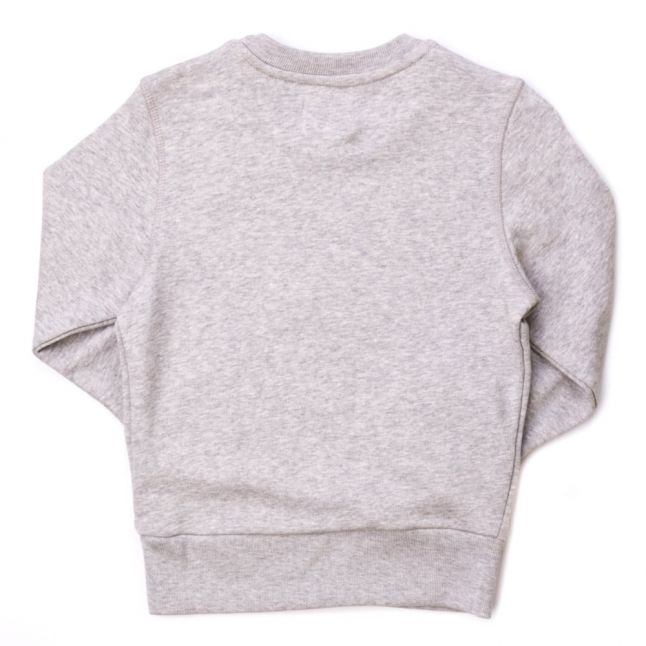 Boys New Grey Melange Branded Crew Sweat Top