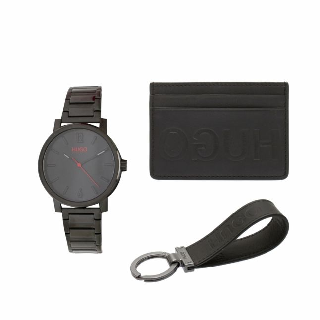 Mens Black Watch & Accessories Gift Set
