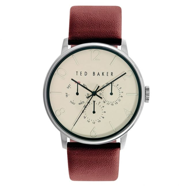 Mens Cream Dial Multifunctional Leather Strap Watch