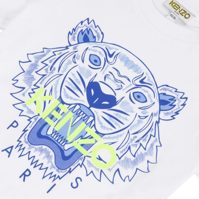 Boys White/Blue Neon Iconic Tiger S/s T Shirt