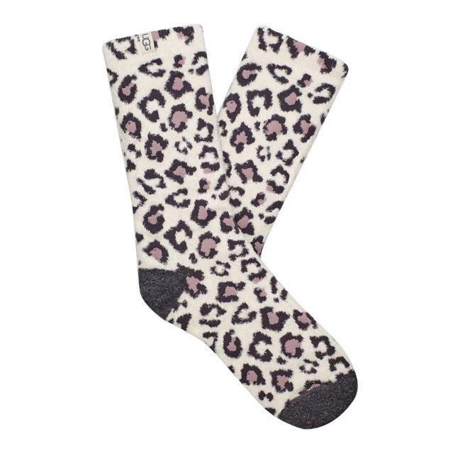 Womens Cream Leopard Leslie Socks